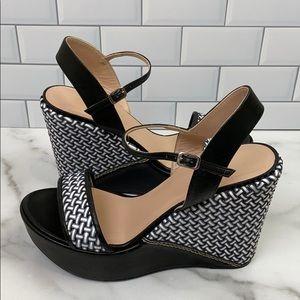 Stuart Weitzman Leather Wedge Heels 8.5 Black